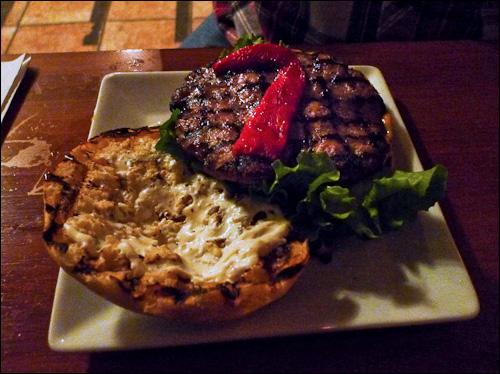 The burger at L'Amère à boire, photo by Ed Hawco