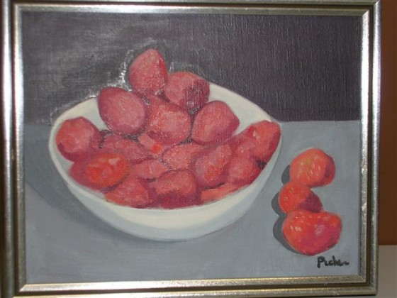 An oil painting of either strawberries or potatoes (or perhaps red rocks from 3484 Hutchison) by Claude Picher made in 1973.