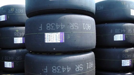 Close up of a tire at The Napa Auto Parts 200 presented by Dodge