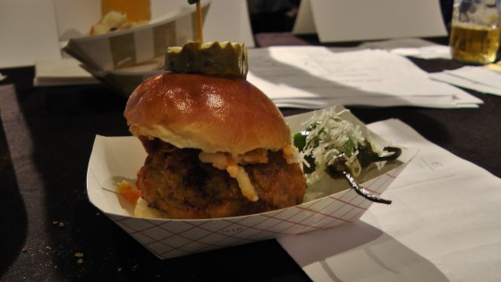 From Kitchenette: Fried chicken chili cheeseburger