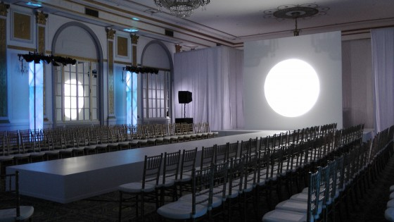 Empty room at Le Windsor before the Lundström fashion show to benefit the Colorectal Cancer Association of Canada