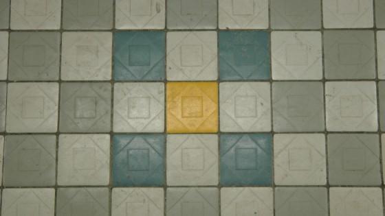 Tiles on the platform.