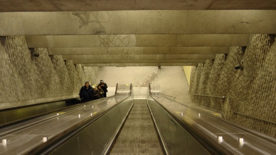 Looking down the escalator in the northern entrance at Métro Joliette.