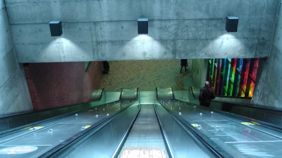 Looking down the other escalator at the Métro Charlevoix