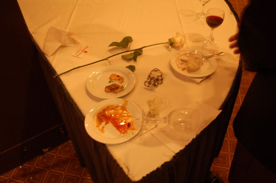 The remnants of food  at the Table of Hope.