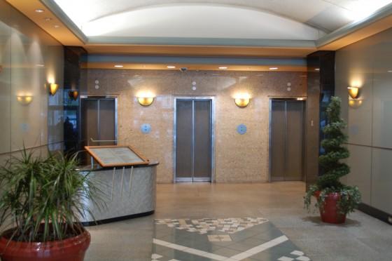 The elevators at 615 Rene Levesque