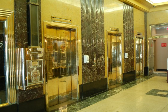 The elevators at 1255 Phillips Square