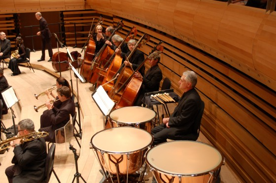 The back row of a Viennese Orchestra setup.