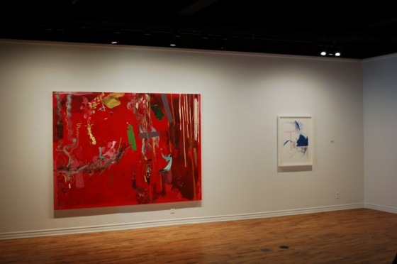 Installation view of Vrtlar by Mirana Zuger at the McClure Gallery, showing Zelena and Baseline