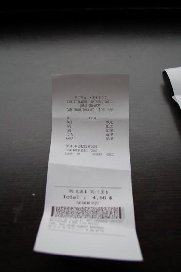 The Bill from Viva Mexico