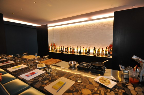 Interior view of the bar at Blu restaurant italien